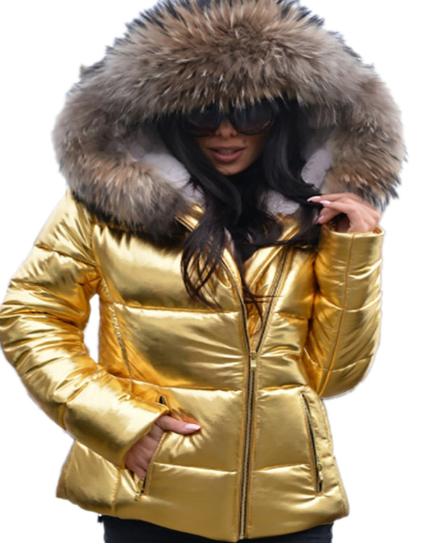 Women Faux Fur Gold Color Short Coat Winter Warm Slim Jacket