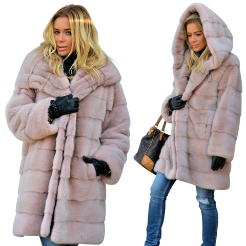 Women Pink Faux Fur Sweet Design Winter Coat