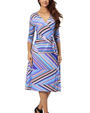 Women Casual 3/4 Sleeve V Neck Adjustable Loose  Plus Size summer Beach Dress