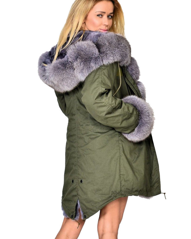 Roiii Thickened Grey Warm Loose Style Punk Grey Faux Faux Fur  Casual  Parka Hood Women Hooded Long Winter Jacket Overcoat