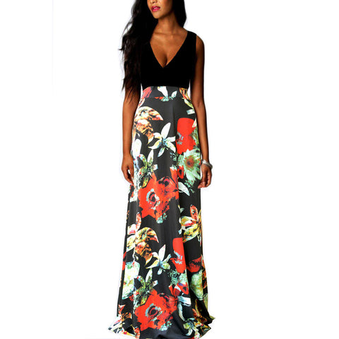 Roiii summer fashion floral deep V-neck casual dresses
