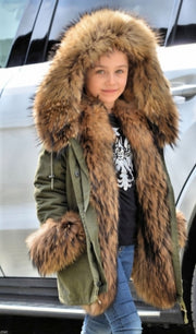 Girls Jackets Kids Faux Fur Collar Coat