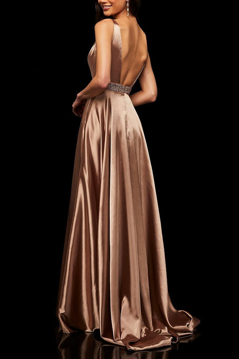 Roiii beautiful deep v-neck floor-length long dresses party dresses PINK COLOR