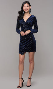 ROIII Ladies V-neck Long-sleeve Slim Sexy Short Evening Party Dress