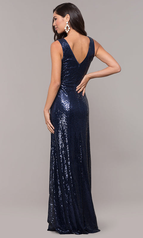 ROIII Women Slim Sequin  Bling Bling Navy Floor-length Evening Party Dress