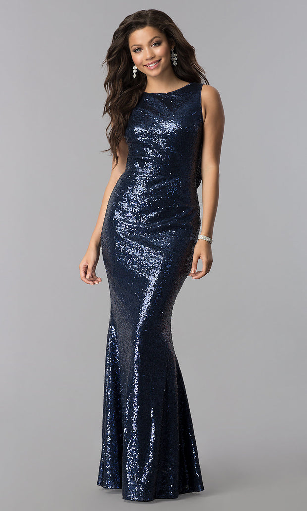 Lady Backless Twinkle Sequin Floor-length Fishtail Gold Party Dress