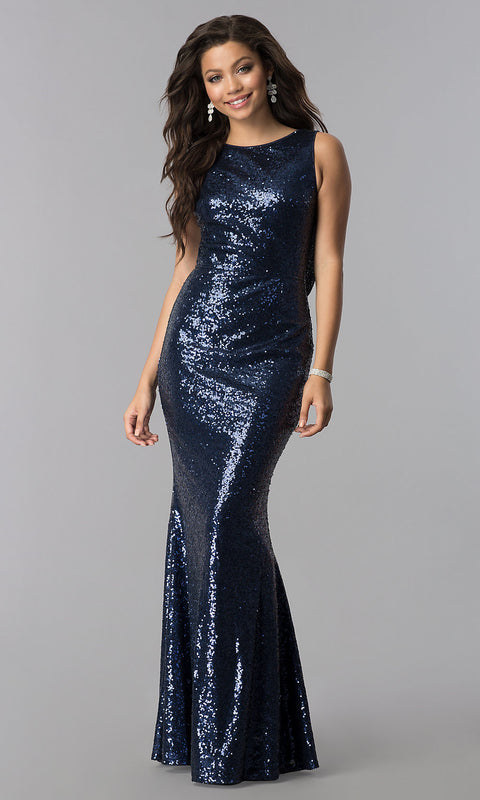 Roiii backless twinkle sequin floor-length long fishtail dressses party dresses navy color