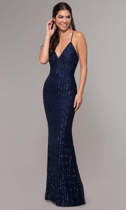 ROIII Ladies Deep V-neck Backless Navy Sparkly Party Prom Long Dress