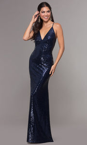 ROIII Women Navy Open Back Cross Slim Floor-length Long Fishtail  Dress