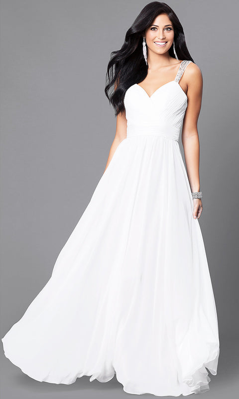 ROIII V-neck Sling Backless Floor-length White Evening Party Prom Dress