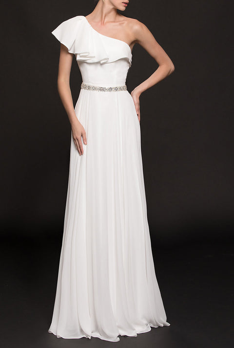 Roiii fashion newest dresses  single-necked slim  evening party long dresses white