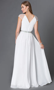 ROIII V-neck Chiffon Slim White Cocktail Evening Party Prom Dress