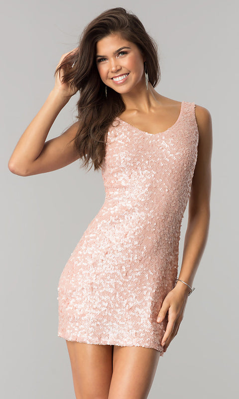 ROIII Ladies Pink Color V-neck Package Hip Gold Sparkly Party Dress