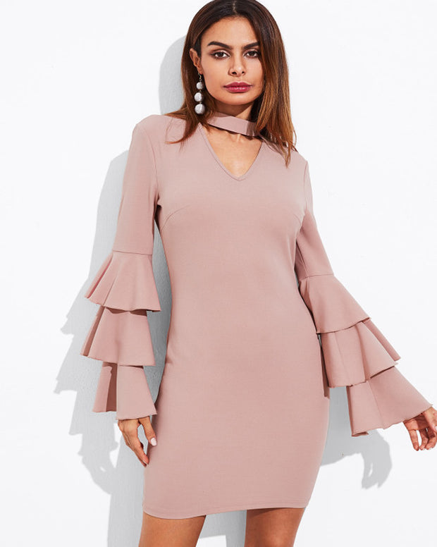 Women Layered Sleeve V Neck Cut Out Pencil Dress