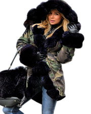 Roiii Thickened Warm Loose Camouflage Black Faux Fur Casual Parka Fashion Women Hooded Long Winter Jacket Overcoat EU Size 36-50