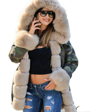 Roiii Thickened Faux Fur Camouflage Black Parka Women Hooded Long Winter Jacket Overcoat
