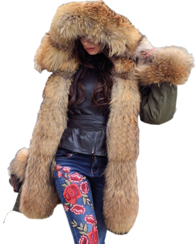 Roiii Thickened Warm Loose Camouflage Brown Faux Fur Casual Parka Fashion Women Hooded Long Winter Jacket Overcoat UK SIZE 8-20