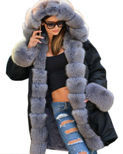 Roiii Thickened Warm Grey Faux Fur Soft Warm Parka Fashion Women Hooded Long Winter Jacket Coat  Overcoat Size S-M L XL XXL 3XL