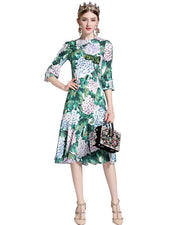 Roiii  Fashion Womens Prairie Chic Style Spring Summer Causal Dress Half-Sleeve Print Beauty Sweet Party Holiday Swing Dress