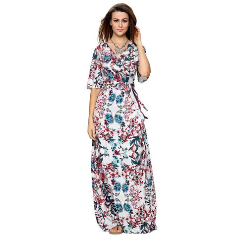Roiii Womens Vintage Floral Print Short Sleeve Long Dresses Ladies Summer beach Causal Dress With Belt Front Open Bohemia Style