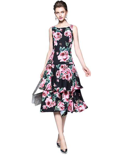 Roiii Women Ladies Dress Plus Size S-4XL Elegant Vintage Floral Sleeveless A-Line Party Evening Dresses Vestidos 2018 New Style