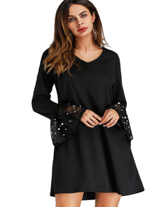 Roiii Fashion Black Womens Dresses Chiffon Pearl Beading Flare Sleeve Short Mini Dress Casual Loose Boat Neck Summer Beach Skirt