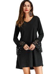 Roiii  Womens Dresses Chiffon Pearl Beading Flare Sleeve Short Mini Dress