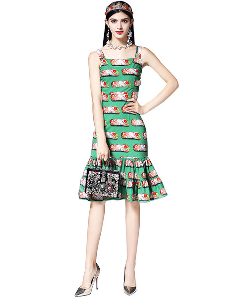 Roiii Fashion Sweet Girls Women Sleeveless Backless Print Bodycon Dresses Party Evening Summer Beach Sundress Short Swing Dress