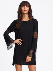 Roiii Plus Size Women Clothing 2018 Chiffon Dress Summer Dresses Party Long Sleeve Lace Casual Vestidos Black Short Mini Skirt