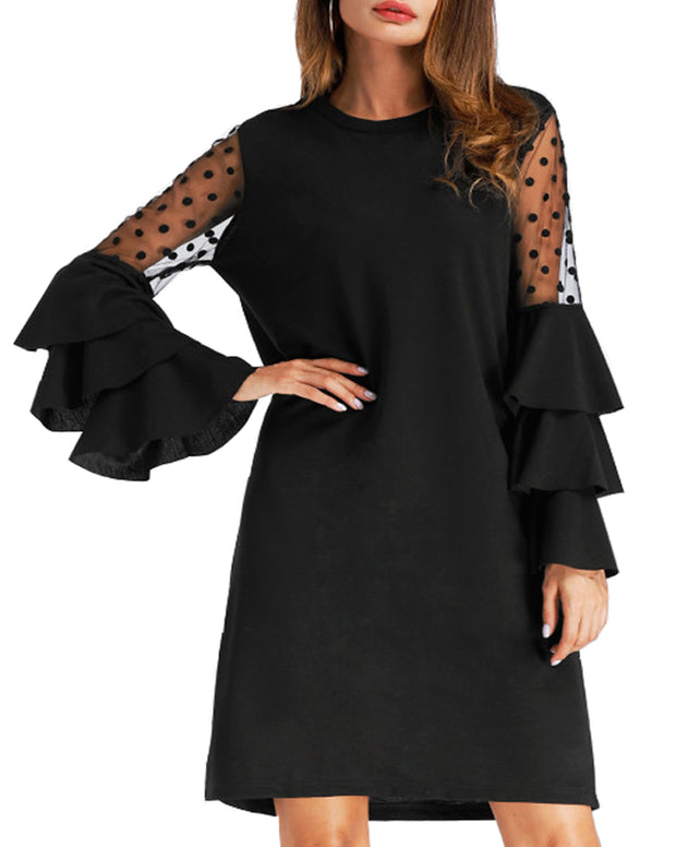 Roiii Women Tops Long Flare Sleeve Lace Polk Chiffon Dresses
