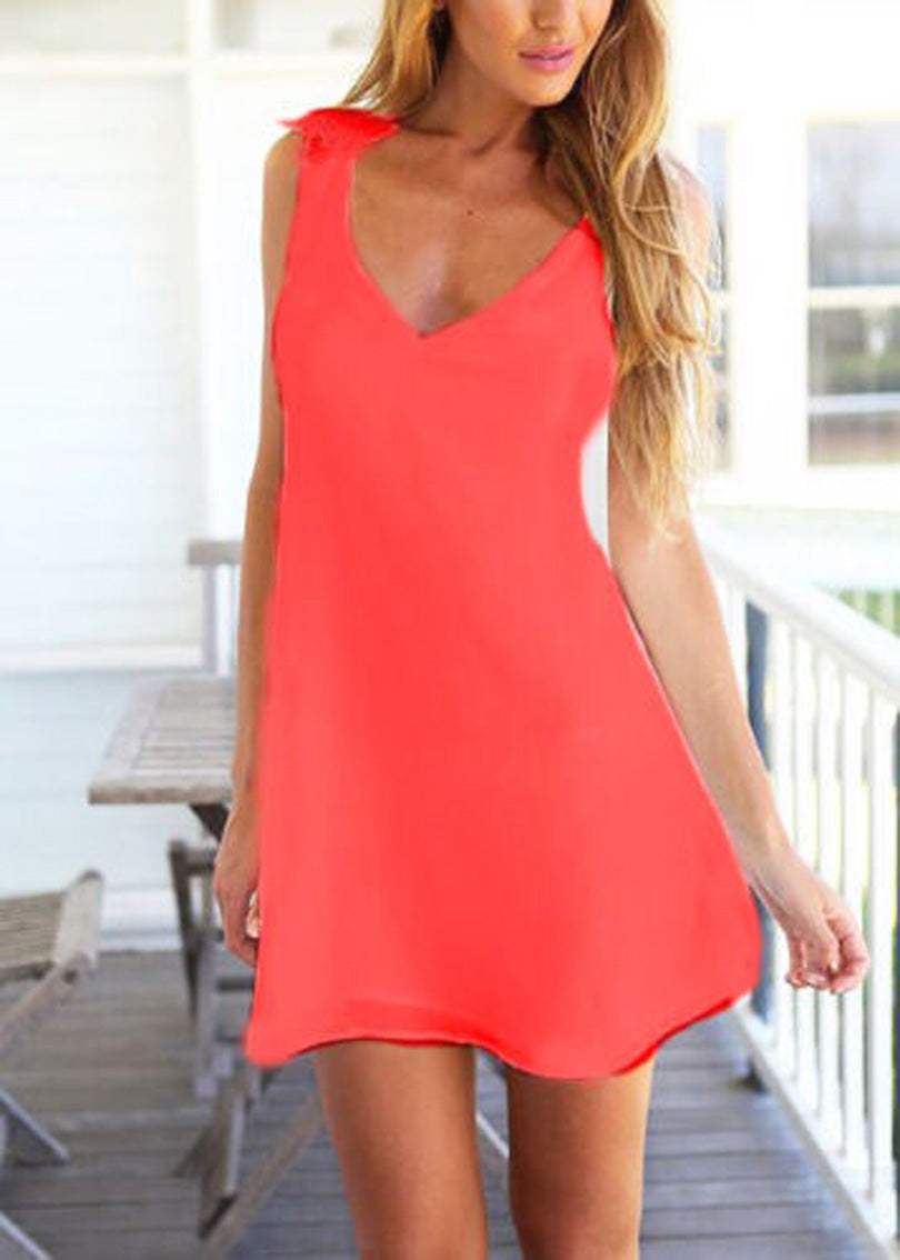 Roiii Club Party Short Mini Dress Summer Chiffon Sleeveless Casual Loose V Neck Backless Dresses Beach Holiday A-Line Dress