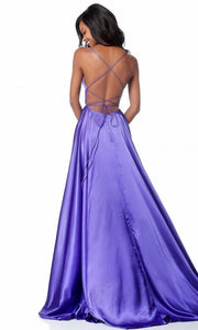 Roiii backless Leg split floor-length long royal purple color party dresses