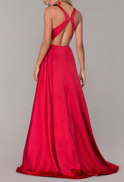 Roiii deep-V open back beautiful party dresses