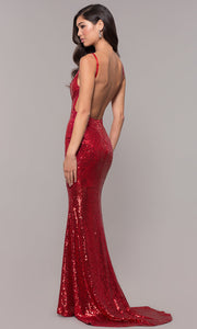 ROIII Hot Red Color Backless Deep V-neck Floor-length Cocktail Evening Party Dress
