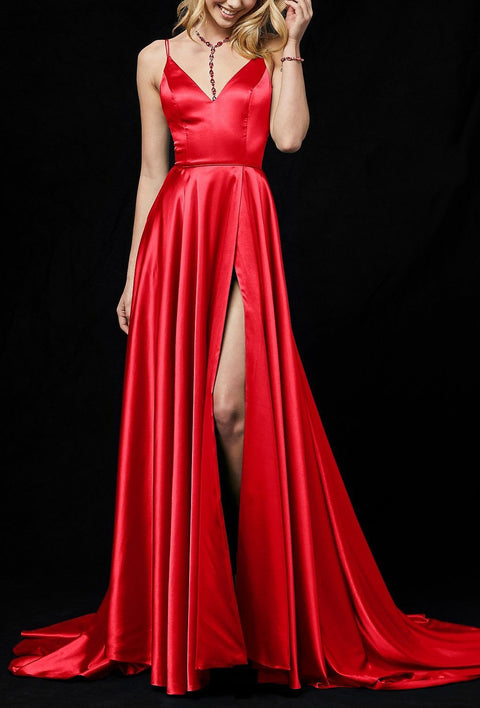 Roiii deep V backless beautiful suspender party dresses long dresses RED