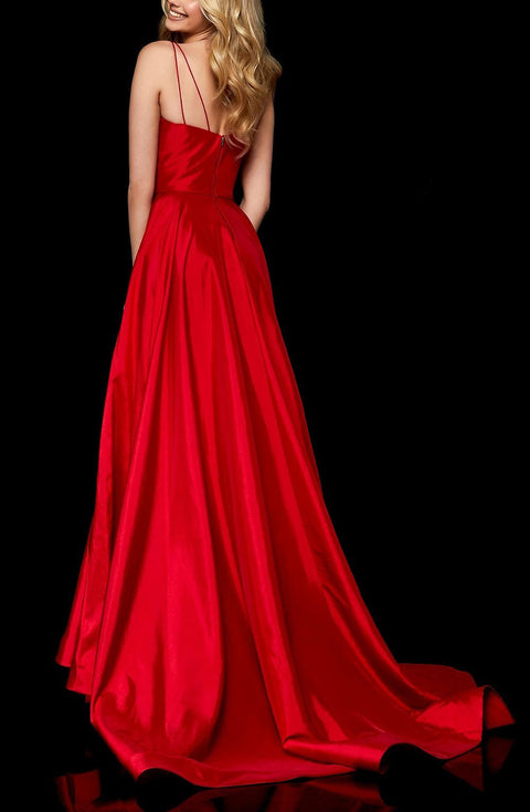 Roiii deep-V open back beautiful party long dresses RED COLOR
