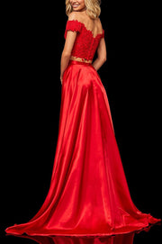 Roiii hot selling fashion lace sequin off-shoulder slim long evening dresses red color