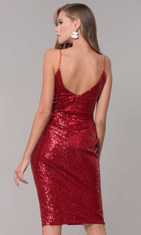 ROIII Ladies Hot Red Color Sling V-neck Sequins Formal Dress