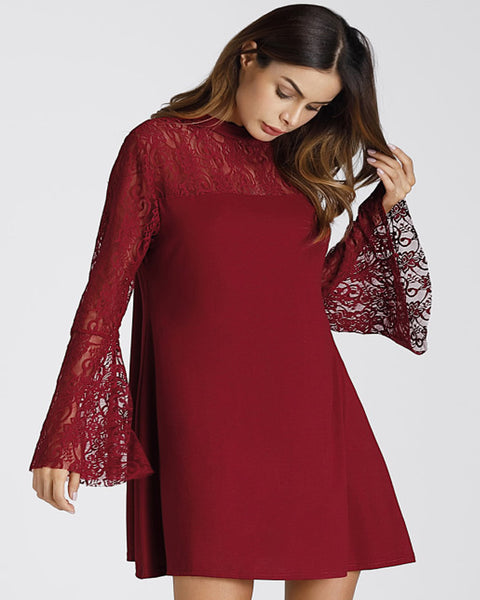 Roiii Ladies Short Mini Dress Tops Chiffon Lace Loose Round Neck Flare Sleeve Plain Dresses Women 2018 Spring New Casual Dress