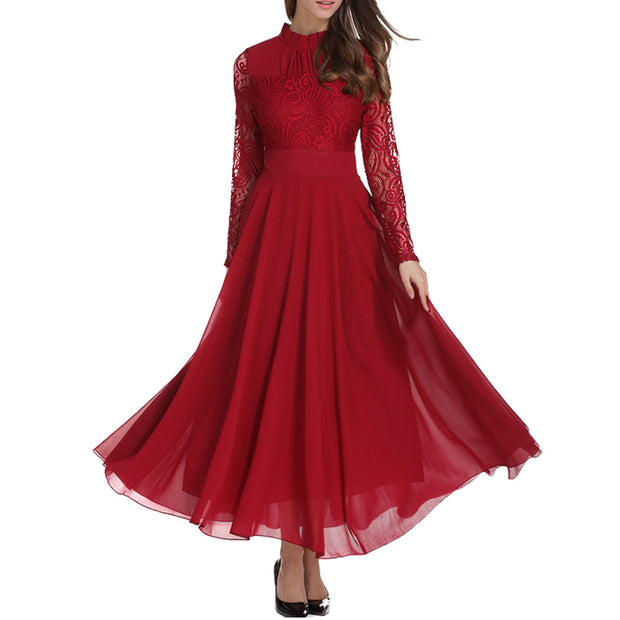 Women Hot Red Vestidos Wedding Bridesmaids Dress Lace Slim Long Party Formal Dress