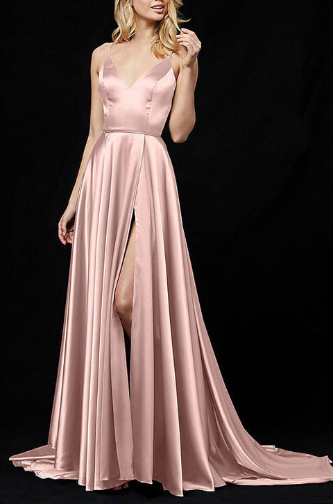 Roiii deep V backless beautiful suspender party dresses long dresses PINK