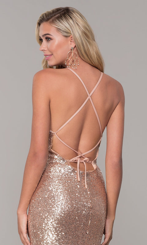 Roiii backless binding twinkle floor-length long party dresses rose gold color