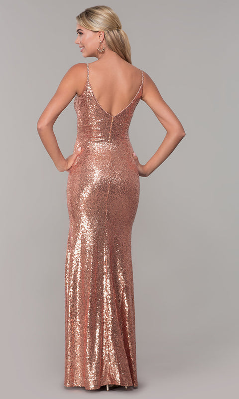 ROIII Women Rose Gold Deep V-neck Backless Split Fishtail Evening Dress