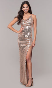 ROIII Ladies Sling Backless Rose Gold Split Midi Evening Party Dress