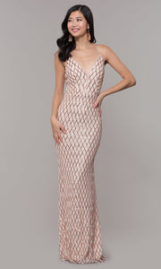 ROIII Ladies Deep V-neck Backless Floor-length  Rose Gold Grid  Party Dress