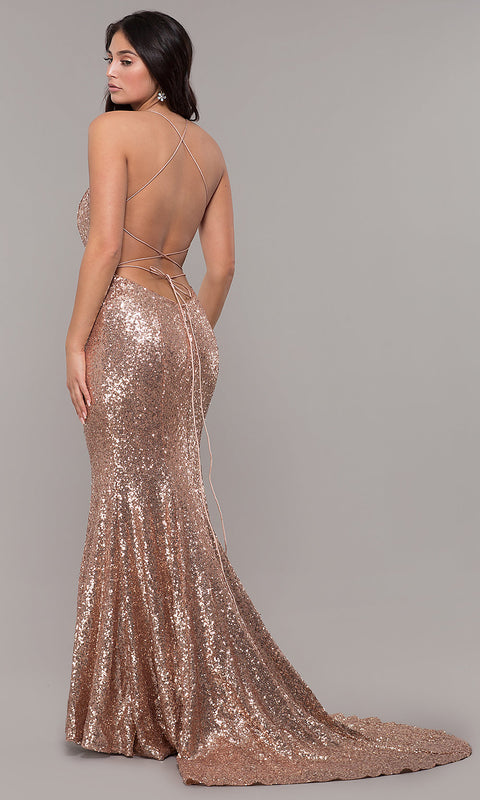 ROIII Deep V-neck Backless Sling sequins Rose Gold Fishtail party dress