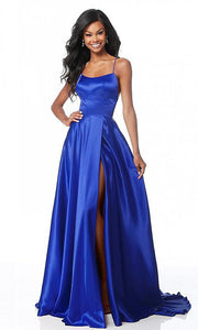 Roiii backless Leg split floor-length long royal black party dresses