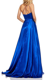 Roiii Fashion inclined collar slim long dress evening party dress blue color
