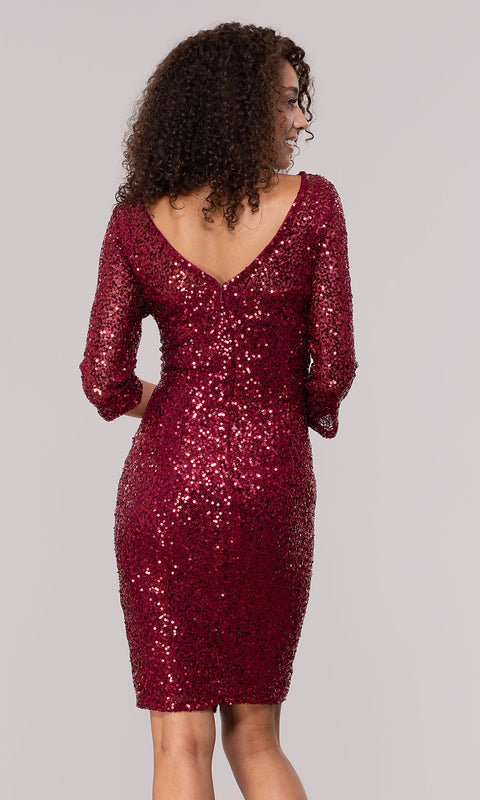 ROIII Ladies Seven-quarter Sleeve Ruby Color Package Hip Sparkly Party Dress