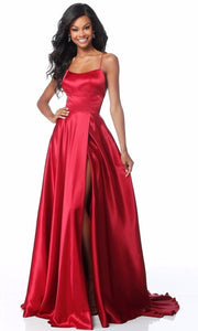 Roiii backless Leg split floor-length long royal red color party dresses